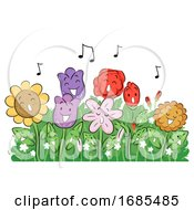 Mascot Flowers Sing Garden Illustration