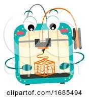Mascot Printer 3D Illustration