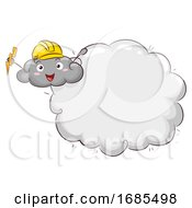 Mascot Thunder Cloud Lightning Safety Illustration