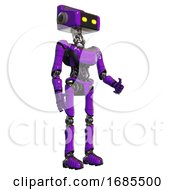 Robot Containing Dual Retro Camera Head And Retro Tech Device Head And Light Chest Exoshielding And Ultralight Chest Exosuit And Ultralight Foot Exosuit Purple Facing Left View