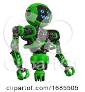 Droid Containing Digital Display Head And Stunned Expression And Heavy Upper Chest And No Chest Plating And Jet Propulsion Green Facing Left View