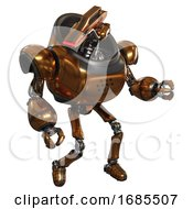 Droid Containing Dual Retro Camera Head And Laser Gun Head And Heavy Upper Chest And Ultralight Foot Exosuit Copper Fight Or Defense Pose