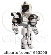 Droid Containing Old Computer Monitor And Magenta Symbol Display And Retro Futuristic Webcam And Heavy Upper Chest And Heavy Mech Chest And Barbed Wire Chest Armor Cage And Prototype Exoplate Legs