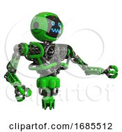 Droid Containing Digital Display Head And Stunned Expression And Heavy Upper Chest And No Chest Plating And Jet Propulsion Green Interacting