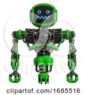 Droid Containing Digital Display Head And Stunned Expression And Heavy Upper Chest And No Chest Plating And Jet Propulsion Green Front View