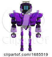 Cyborg Containing Digital Display Head And Three Vertical Line Design And Led And Protection Bars And Heavy Upper Chest And Heavy Mech Chest And Battle Mech Chest And Ultralight Foot Exosuit Purple
