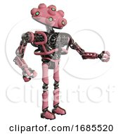 Robot Containing Techno Multi Eyed Domehead Design And Heavy Upper Chest And No Chest Plating And Ultralight Foot Exosuit Pink Interacting
