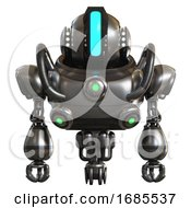 Automaton Containing Round Head And Large Vertical Visor And Head Light Gadgets And Heavy Upper Chest And Chest Green Energy Cores And Jet Propulsion Metal Front View