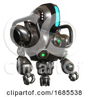 Automaton Containing Round Head And Large Vertical Visor And Head Light Gadgets And Heavy Upper Chest And Chest Green Energy Cores And Jet Propulsion Metal Facing Left View