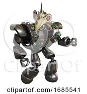 Cyborg Containing Bird Skull Head And Red Line Eyes And Heavy Upper Chest And Heavy Mech Chest And Green Cable Sockets Array And Light Leg Exoshielding Metal Fight Or Defense Pose