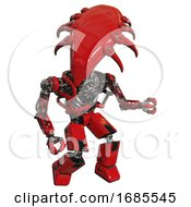 Cyborg Containing Flat Elongated Skull Head And Heavy Upper Chest And No Chest Plating And Prototype Exoplate Legs Red Fight Or Defense Pose