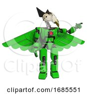 Mech Containing Bird Skull Head And Bone Skull Eye Holes And Robobeak Design And Light Chest Exoshielding And Red Energy Core And Pilots Wings Assembly And Prototype Exoplate Legs Green