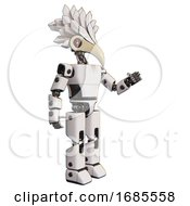 Droid Containing Bird Skull Head And Red Line Eyes And Bird Feather Design And Light Chest Exoshielding And Prototype Exoplate Chest And Prototype Exoplate Legs White Interacting