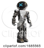 Bot Containing Digital Display Head And Wince Symbol Expression And Light Chest Exoshielding And Prototype Exoplate Chest And Prototype Exoplate Legs Metal Hero Pose