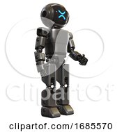 Bot Containing Digital Display Head And Wince Symbol Expression And Light Chest Exoshielding And Prototype Exoplate Chest And Prototype Exoplate Legs Metal Facing Left View