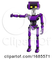 Robot Containing Dual Retro Camera Head And Retro Tech Device Head And Light Chest Exoshielding And Ultralight Chest Exosuit And Ultralight Foot Exosuit Purple Arm Out Holding Invisible Object