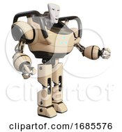Droid Containing Humanoid Face Mask And Heavy Upper Chest And Triangle Of Blue Leds And Prototype Exoplate Legs Off White Interacting