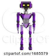 Robot Containing Dual Retro Camera Head And Retro Tech Device Head And Light Chest Exoshielding And Ultralight Chest Exosuit And Ultralight Foot Exosuit Purple Front View