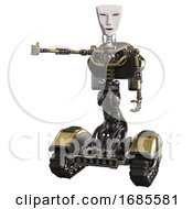 Mech Containing Humanoid Face Mask And Light Chest Exoshielding And Rocket Pack And No Chest Plating And Tank Tracks Gold Arm Out Holding Invisible Object