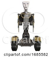 Mech Containing Humanoid Face Mask And Light Chest Exoshielding And Rocket Pack And No Chest Plating And Tank Tracks Gold Front View