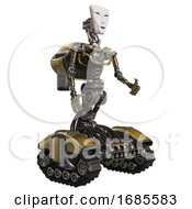 Mech Containing Humanoid Face Mask And Light Chest Exoshielding And Rocket Pack And No Chest Plating And Tank Tracks Gold Facing Left View
