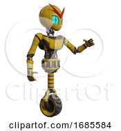 Automaton Containing Grey Alien Style Head And Blue Grate Eyes And Light Chest Exoshielding And Ultralight Chest Exosuit And Unicycle Wheel Yellow Interacting