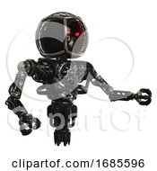 Bot Containing Round Barbed Wire Round Head And Heavy Upper Chest And No Chest Plating And Jet Propulsion Black Interacting