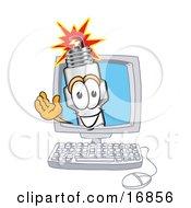 Spark Plug Mascot Cartoon Character Waving From Inside A Computer Screen