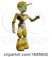 Automaton Containing Grey Alien Style Head And Blue Grate Eyes And Bug Antennas And Light Chest Exoshielding And Ultralight Chest Exosuit And Light Leg Exoshielding Yellow Interacting