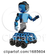 Android Containing Green Dot Eye Corn Row Plastic Hair And Light Chest Exoshielding And Prototype Exoplate Chest And Six Wheeler Base Blue Interacting
