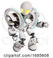 Bot Containing Grey Alien Style Head And Yellow Eyes And Heavy Upper Chest And Heavy Mech Chest And Spectrum Fusion Core Chest And Light Leg Exoshielding And Spike Foot Mod White
