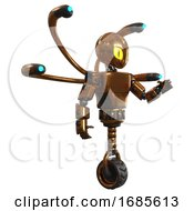 Automaton Containing Grey Alien Style Head And Cats Eyes And Light Chest Exoshielding And Prototype Exoplate Chest And Blue Eye Cam Cable Tentacles And Unicycle Wheel Copper Interacting