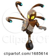 Automaton Containing Grey Alien Style Head And Cats Eyes And Light Chest Exoshielding And Prototype Exoplate Chest And Blue Eye Cam Cable Tentacles And Unicycle Wheel Copper Fight Or Defense Pose