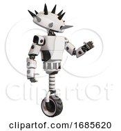Bot Containing Thorny Domehead Design And Light Chest Exoshielding And Prototype Exoplate Chest And Unicycle Wheel White Interacting