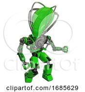 Cyborg Containing Flat Elongated Skull Head And Cables And Heavy Upper Chest And No Chest Plating And Prototype Exoplate Legs Green Fight Or Defense Pose