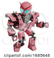 Cyborg Containing Grey Alien Style Head And Blue Grate Eyes And Heavy Upper Chest And Heavy Mech Chest And Shoulder Spikes And Prototype Exoplate Legs Pink Fight Or Defense Pose