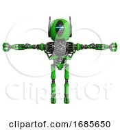 Android Containing Round Head And Vertical Cyclops Visor And Head Winglets And Heavy Upper Chest And No Chest Plating And Ultralight Foot Exosuit Green T Pose