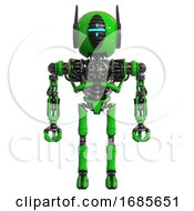 Android Containing Round Head And Vertical Cyclops Visor And Head Winglets And Heavy Upper Chest And No Chest Plating And Ultralight Foot Exosuit Green Front View