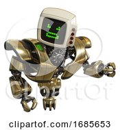 Cyborg Containing Old Computer Monitor And Angry Pixels Face And Red Buttons And Heavy Upper Chest And Heavy Mech Chest And Jet Propulsion Gold Fight Or Defense Pose