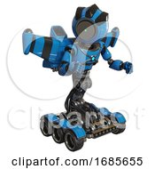 Robot Containing Green Dot Eye Corn Row Plastic Hair And Light Chest Exoshielding And Blue Energy Core And Stellar Jet Wing Rocket Pack And Six Wheeler Base Blue Fight Or Defense Pose