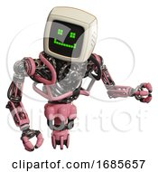 Android Containing Old Computer Monitor And Happy Pixel Face And Heavy Upper Chest And No Chest Plating And Jet Propulsion Pink Fight Or Defense Pose
