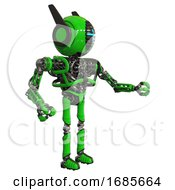 Android Containing Round Head And Vertical Cyclops Visor And Head Winglets And Heavy Upper Chest And No Chest Plating And Ultralight Foot Exosuit Green Interacting