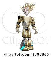 Robot Containing Humanoid Face Mask And Die Robots Graffiti Design And Light Chest Exoshielding And Prototype Exoplate Chest And Light Leg Exoshielding And Megneto Hovers Foot Mod Gold Hero Pose