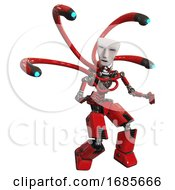 Cyborg Containing Humanoid Face Mask And Light Chest Exoshielding And Blue Eye Cam Cable Tentacles And No Chest Plating And Prototype Exoplate Legs Red Fight Or Defense Pose