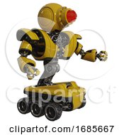 Automaton Containing Round Head And Red Laser Crystal Array And Heavy Upper Chest And Heavy Mech Chest And Six Wheeler Base Yellow Interacting
