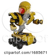 Automaton Containing Round Head And Red Laser Crystal Array And Heavy Upper Chest And Heavy Mech Chest And Six Wheeler Base Yellow Fight Or Defense Pose