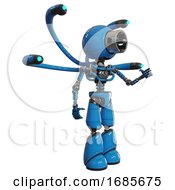 Bot Containing Cable Connector Head And Light Chest Exoshielding And Blue Eye Cam Cable Tentacles And No Chest Plating And Light Leg Exoshielding Blue Interacting