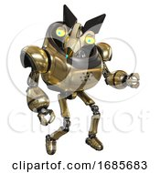 Automaton Containing Bird Skull Head And Big Yellow Eyes And Robobeak Design And Heavy Upper Chest And Ultralight Foot Exosuit Gold Fight Or Defense Pose