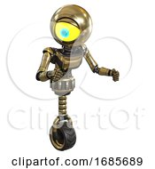 Android Containing Giant Eyeball Head Design And Light Chest Exoshielding And Ultralight Chest Exosuit And Unicycle Wheel Gold Fight Or Defense Pose