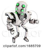 Cyborg Containing Round Head And Six Eye Array And Bug Eyes And Heavy Upper Chest And Heavy Mech Chest And Ultralight Foot Exosuit White Fight Or Defense Pose